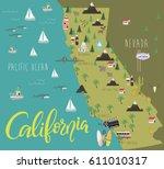 illustration map of california... | Shutterstock .eps vector #611010317
