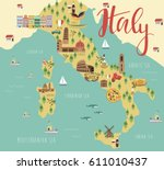 illustration map of italy with... | Shutterstock .eps vector #611010437
