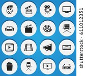 set of 16 editable cinema icons.... | Shutterstock .eps vector #611012351
