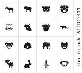 set of 16 editable zoology... | Shutterstock .eps vector #611012411