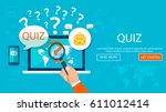 quiz. quiz online on laptop.... | Shutterstock .eps vector #611012414