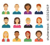 set of diverse man and woman... | Shutterstock .eps vector #611013419