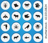 set of 16 editable nature icons.... | Shutterstock . vector #611013824