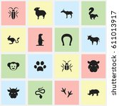 set of 16 editable zoology... | Shutterstock . vector #611013917
