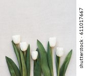 bouquet of white tulips on the...   Shutterstock . vector #611017667