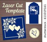 lasercut vector wedding... | Shutterstock .eps vector #611019161