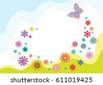 springtime  summer banner with...   Shutterstock .eps vector #611019425