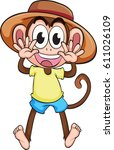 monkey in a hat | Shutterstock .eps vector #611026109