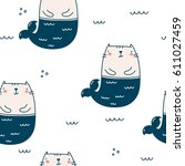 cat mermaid seamless pattern | Shutterstock .eps vector #611027459