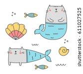 cat mermaid  | Shutterstock .eps vector #611027525