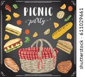 collection of picnic food on... | Shutterstock .eps vector #611029661