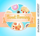 breakfast round template with... | Shutterstock .eps vector #611030207