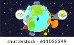 disaster globe horizontal...   Shutterstock .eps vector #611032349