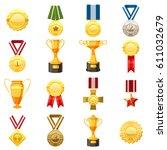 award icons set. flat...   Shutterstock .eps vector #611032679