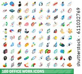 100 office work icons set in... | Shutterstock .eps vector #611032769