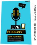 live podcast poster with... | Shutterstock .eps vector #611033537
