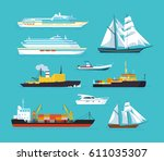set of ships in modern flat... | Shutterstock .eps vector #611035307