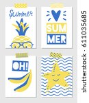 set of vector summer greeting... | Shutterstock .eps vector #611035685