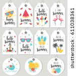 set hello summer. gift tags and ... | Shutterstock .eps vector #611038361