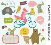vector illustration of cute... | Shutterstock .eps vector #611038925
