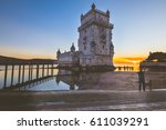 belem tower at sunset in lisbon.... | Shutterstock . vector #611039291
