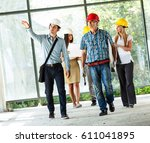 group of engineers and experts... | Shutterstock . vector #611041895
