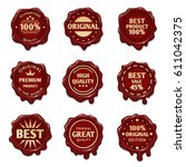 old wax stamps with finest... | Shutterstock .eps vector #611042375