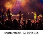 crowd at concert   summer music ... | Shutterstock . vector #611045315