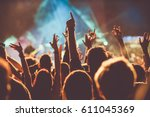 crowd at concert   summer music ... | Shutterstock . vector #611045369