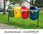 colorful recycle bins for... | Shutterstock . vector #611049029