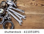 tools and old auto parts on... | Shutterstock . vector #611051891