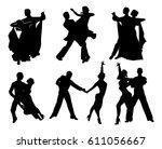 set of black contours dancing... | Shutterstock . vector #611056667