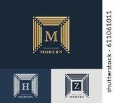 modern logo design. geometric... | Shutterstock .eps vector #611061011