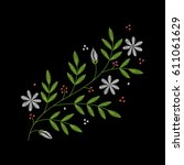 embroidery floral pattern with... | Shutterstock .eps vector #611061629
