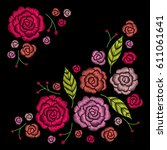 embroidery corner floral... | Shutterstock .eps vector #611061641