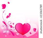 pink hearts valentine card | Shutterstock .eps vector #611063789