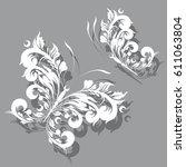 white  butterfly  swirl ... | Shutterstock .eps vector #611063804