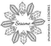 sesame seed  natural organic... | Shutterstock .eps vector #611063861