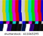 tv test card with rainbow bars  ...   Shutterstock . vector #611065295
