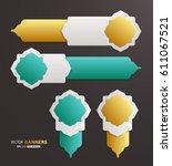 set of 3d infographic golden... | Shutterstock .eps vector #611067521
