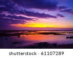 tropical sunset on the beach.... | Shutterstock . vector #61107289