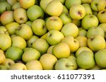 background made with apples in... | Shutterstock . vector #611077391