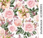 bright watercolor seamless... | Shutterstock . vector #611083001