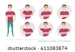set of emotions and gestures to ... | Shutterstock .eps vector #611083874