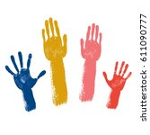 voting colored hands isolated...   Shutterstock .eps vector #611090777
