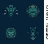 set of thin line animal icons.... | Shutterstock .eps vector #611091149