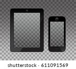 empty screen on monopod and... | Shutterstock .eps vector #611091569