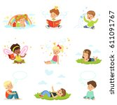 happy and lovely children play... | Shutterstock .eps vector #611091767