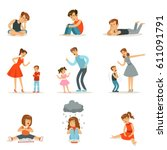 mutual relations of parents and ... | Shutterstock .eps vector #611091791