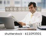 businessman sitting in office ... | Shutterstock . vector #611093501
